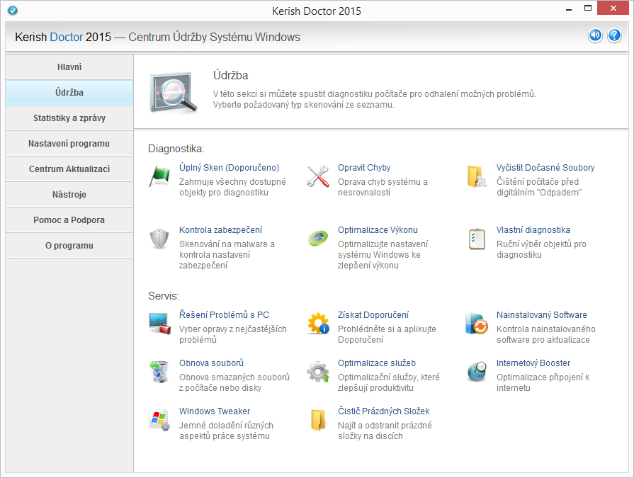 Centrum Údržby systému Windows Kerish Doctor 2015