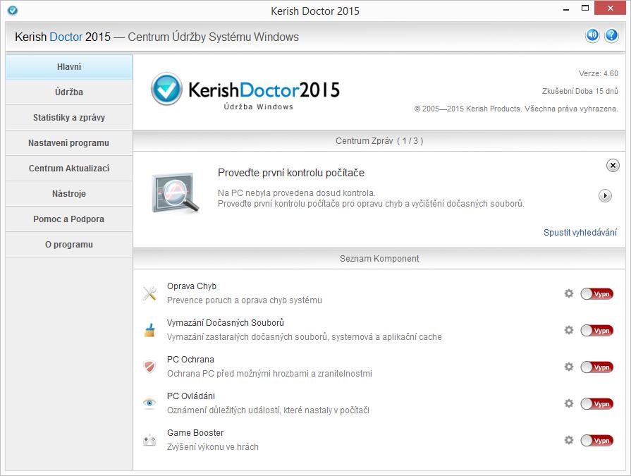 Výchozí obrazovka Kerish Doctor předestírá všechny ještě neprovedené skeny