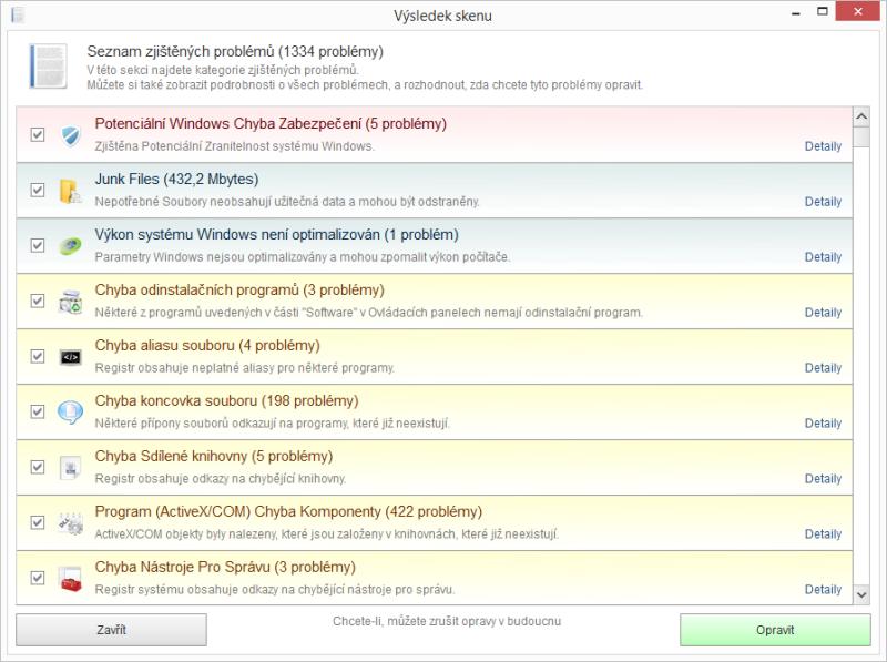 Výsledek skenu a jednotlivé položky analýzy Kerish Doctor 2015