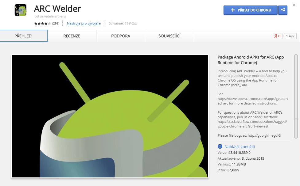 ARC Welder najdeme v Internetovém obchodě Chrome