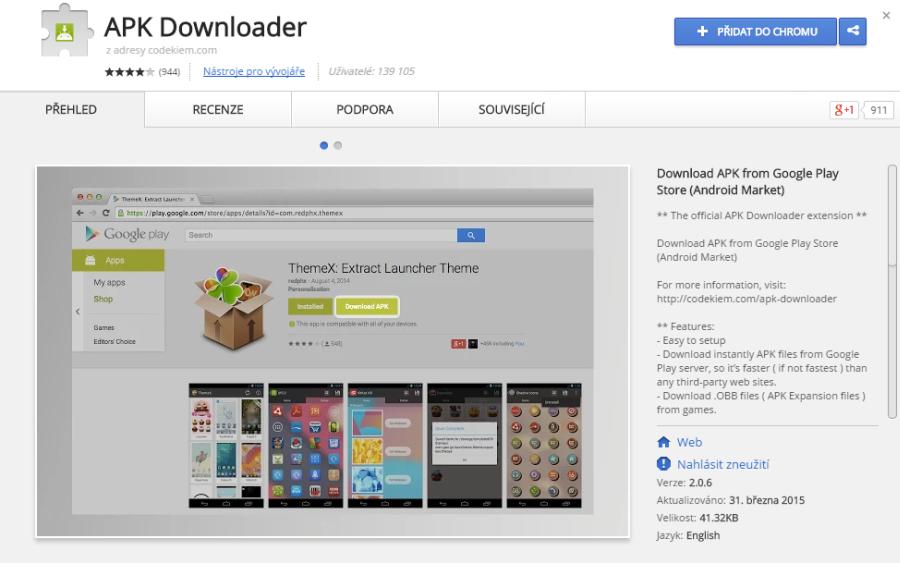 APK Downloader nám pomůže se stažení APK na počítač - třeba coby rozšíření Chrome