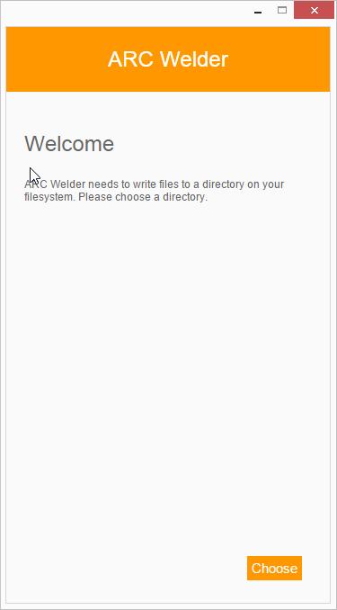 Spustíme ARC Welder z Aplikací Chrome a vybereme pracovní složku aplikace