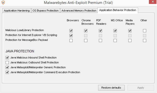 Malwarebytes Anti-Exploit umožňuje podrobné nastavení oblastí a komponent ochrany