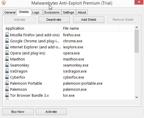 Štíty Anti-Exploit snadno doplníme i o ty aplikace, které v základním seznamu nejsou