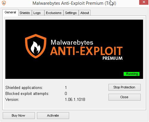 Velmi jednoduché a přehledné prostředí Malwarebytes Anti-Exploit