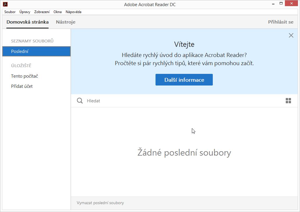 Nové výchozí rozhraní Adobe Acrobat Reader DC