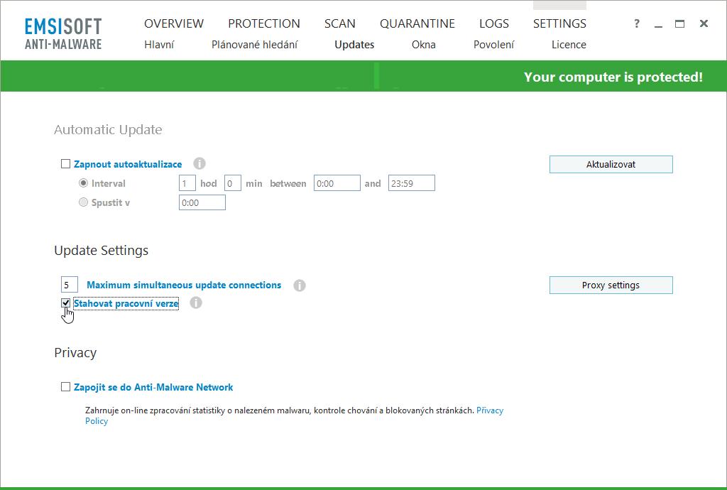 Zvolíme Stahovat pracovní verze Emsisoft Anti-Malware