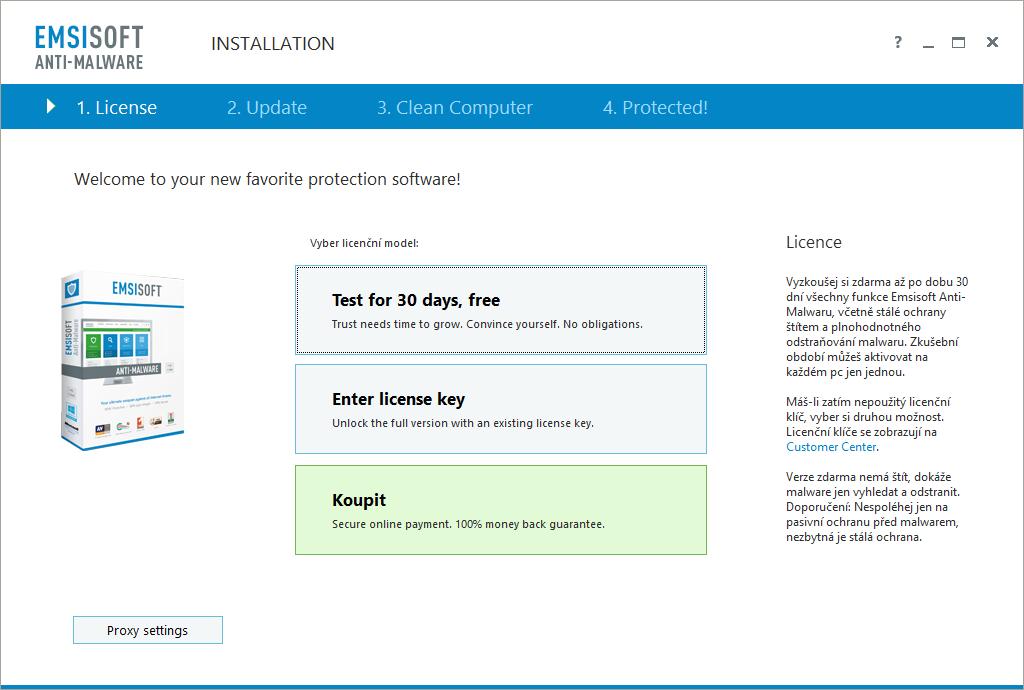 Emsisoft nás rovnou vítá upozorněním na to, že používáme pouze zkušební verzi
