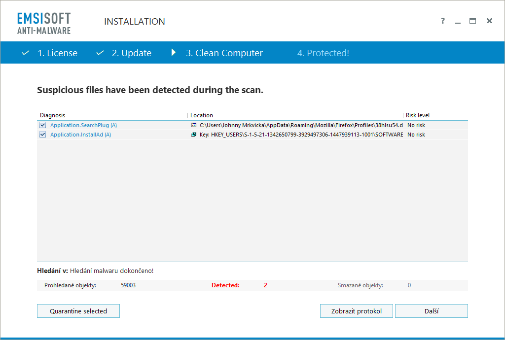 Rychlý sken našel vyhledávácí modul Ask.com a zbytek adware v registru
