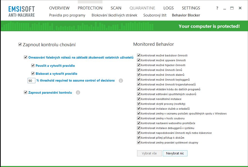 Emsisoft Anti-Malware: možnosti nastavení Kontroly chování