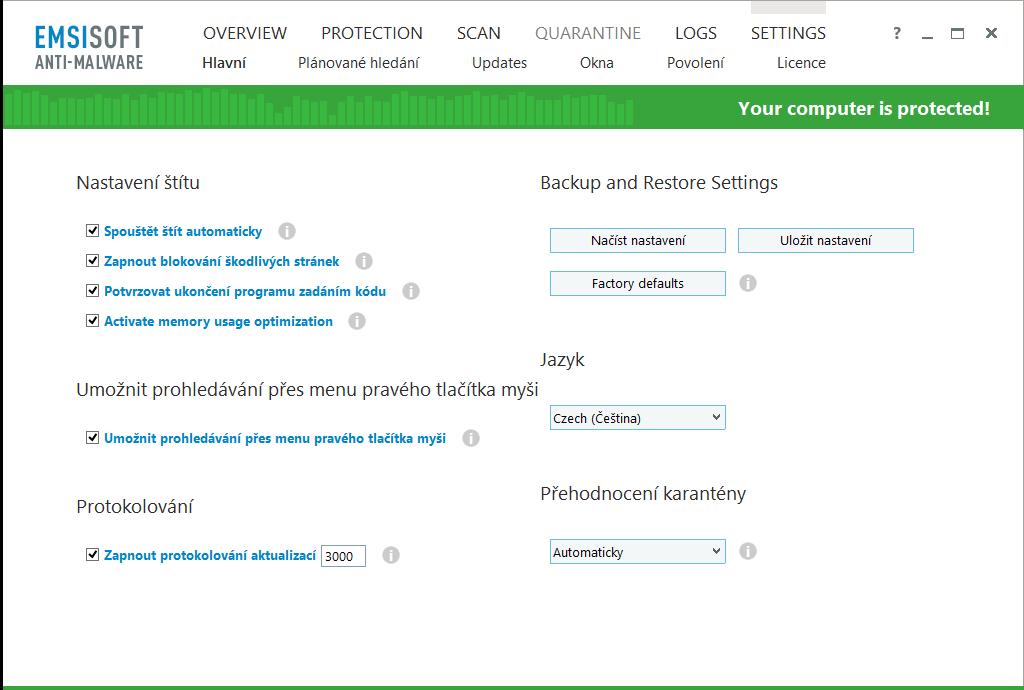 Podrobná, ovšem velmi přehledná nastavení Emsisoft Anti-Malware