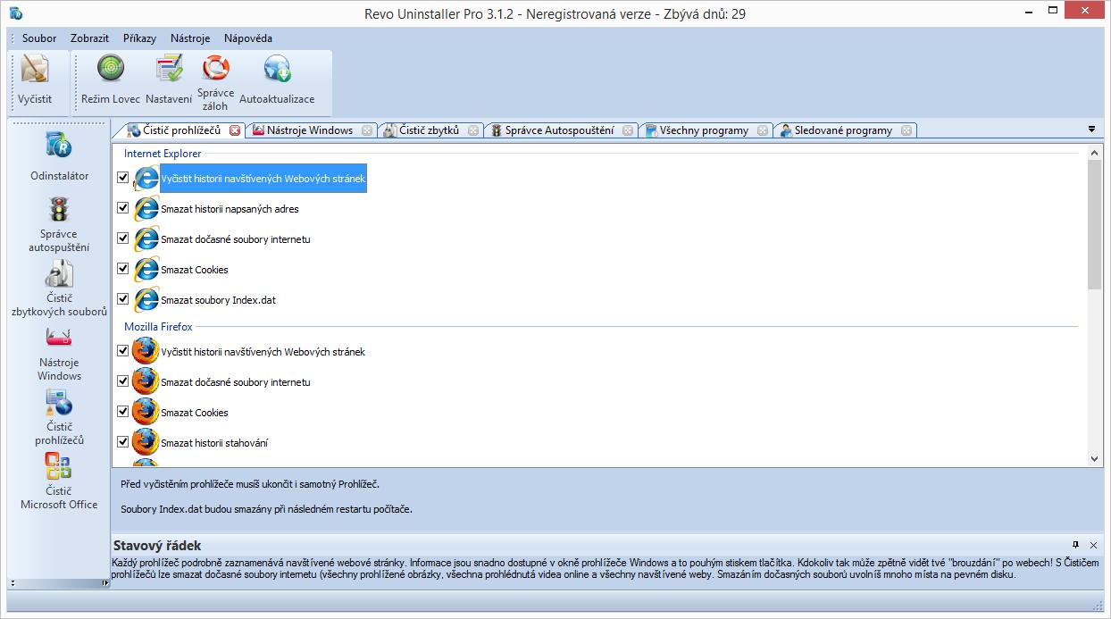 Čistič prohlížečů vyčistí data Opery, Firefoxu, Internet Exploreru a Chrome