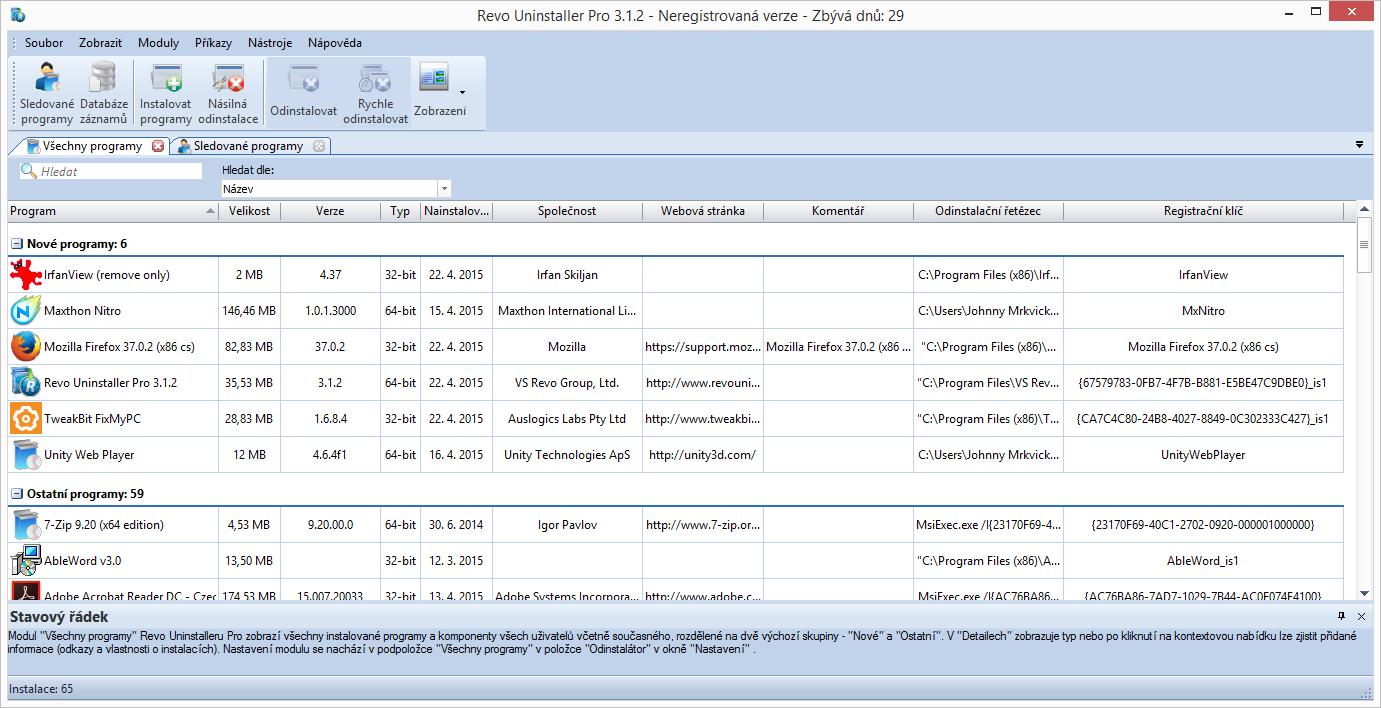 Revo Unistaller Pro: detailní výpis informací všech nainstalovaných programů