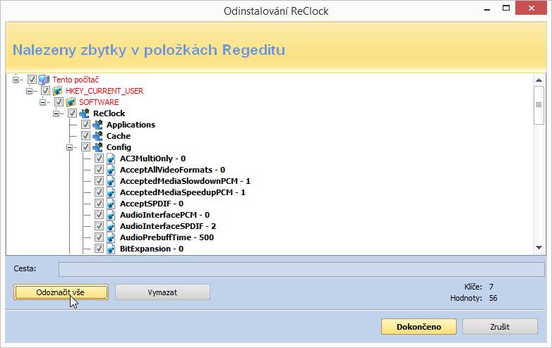 Vyhledání zbytkových položek již odinstalované aplikace ReClock