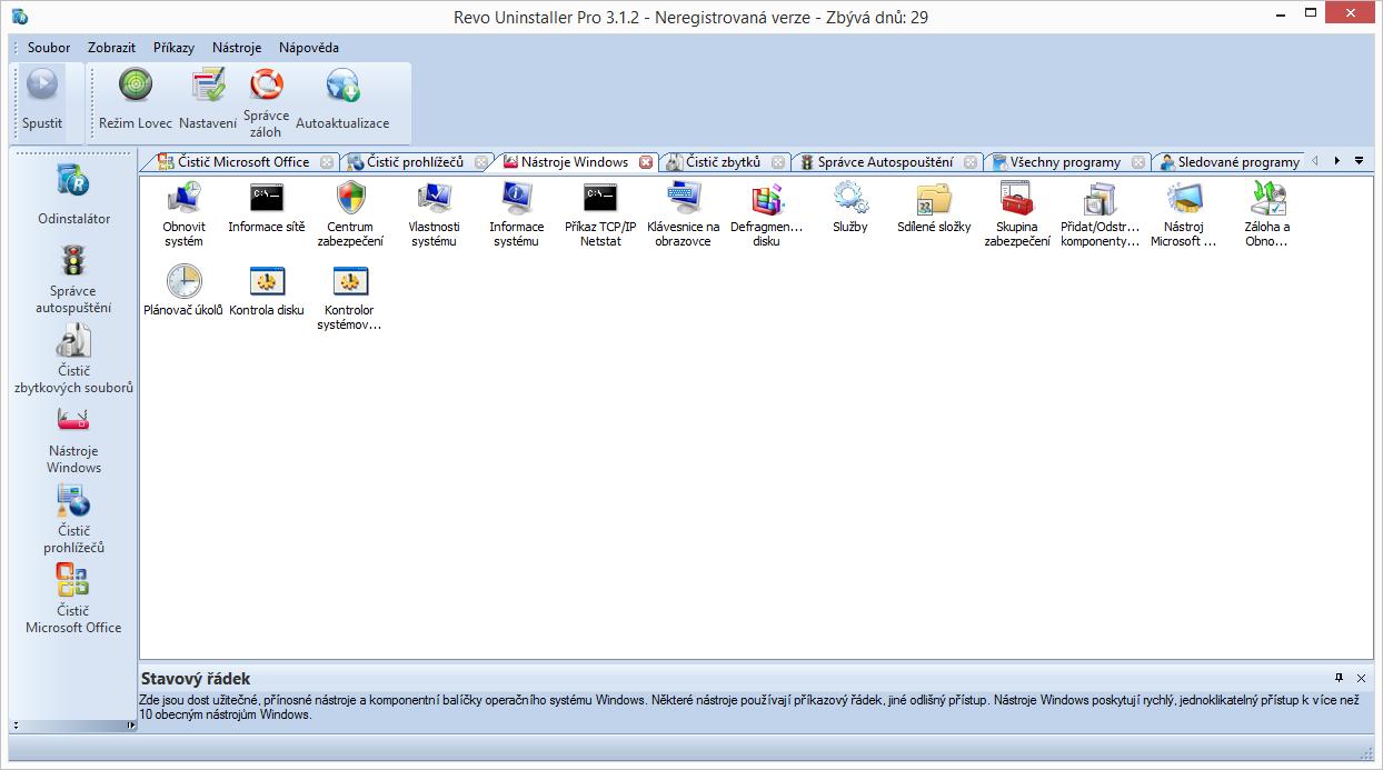 Nástroje Windows nabízí přístup na jedno kliknutí k mnohým funkcím Windows