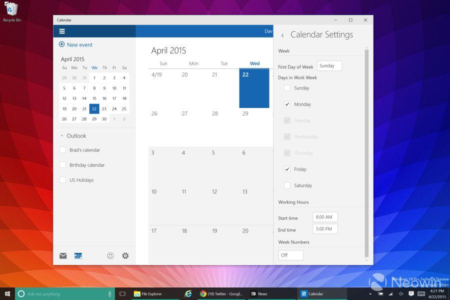 Třípanelové zobrazení nového Kalendáře (Zdroj: Neowin.net)