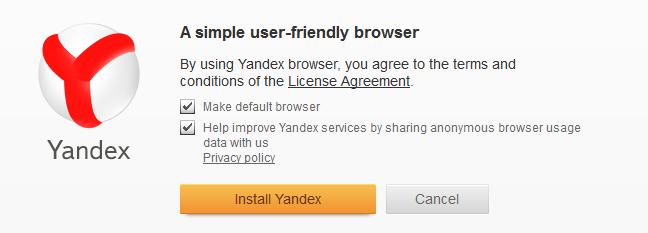 Yandex: odklikneme dvě prosté volby a máme nainstalováno