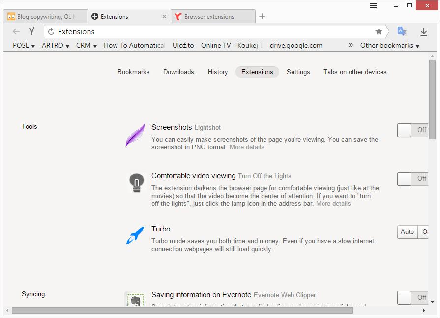 Rozšíření defaultně dostupná v Yandexu