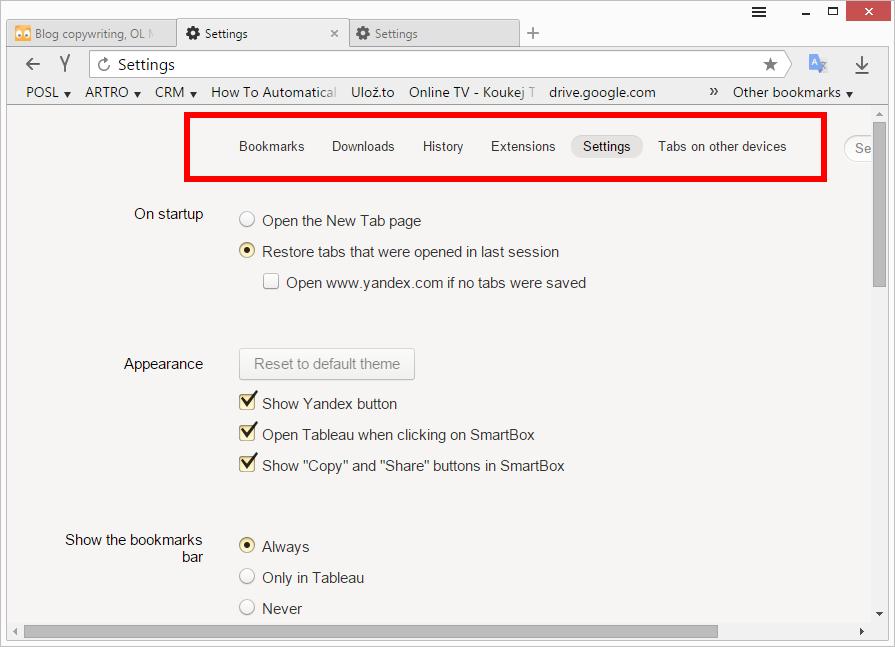 Lišta sdružující různé nástroje browseru Yandex