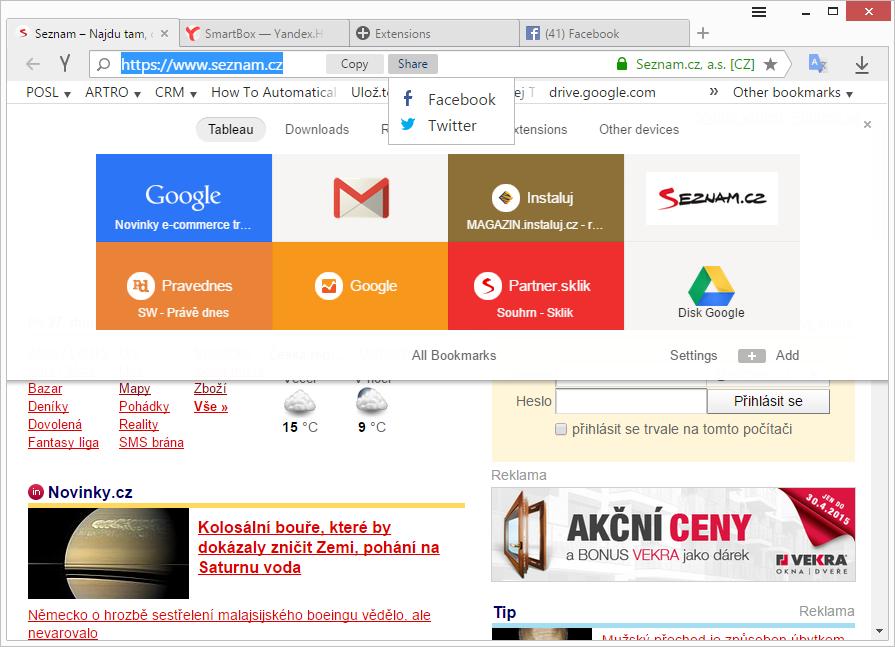 Kopírovat a sdílet URL lze na jedno kliknutí