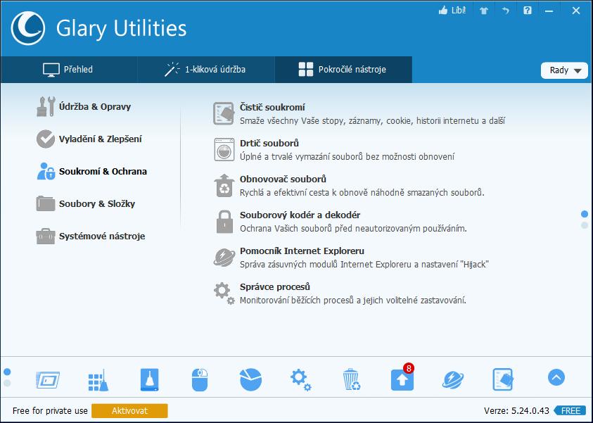 Nástrojů má Glary Utilities vskutku bezpočet - naštěstí jsou přehledně rozděleny do kategorií