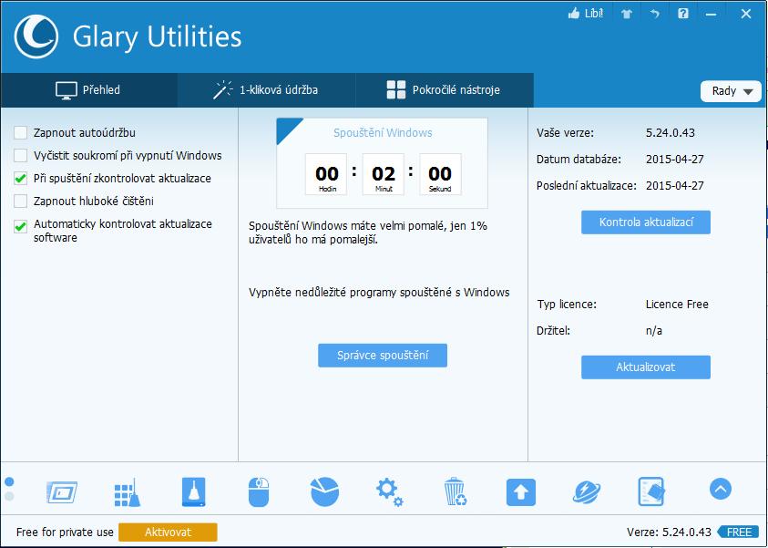 Glary Utilities nás vítá přehledem dostupných modulů, nástrojů a dobou spouštění počítače
