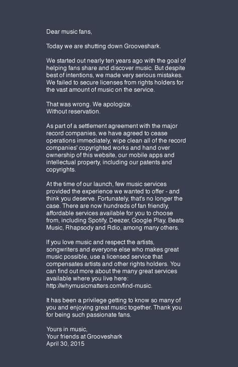Prohlášení Groovesharku pro oko žalobců, soudců a několika naivních fans