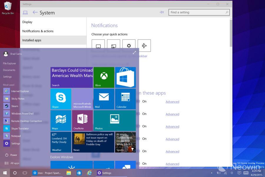 Nabídka Start s lehce rozmazaným pozadím nové průhlednosti Windows 10 (Zdroj: Neowin.net)
