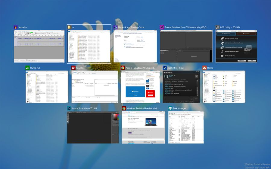 Windows 10 a jeho přepínání aktivních aplikací a oken pomocí Alt-Tab (Zdroj: ExtremeTech.com)