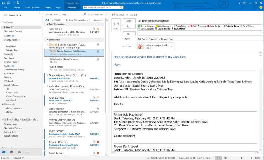 Outlook Office 2016 nabízí přímé vkládání příloh z OneDrive, nastavování jejich práv i funkci typu Clutter
