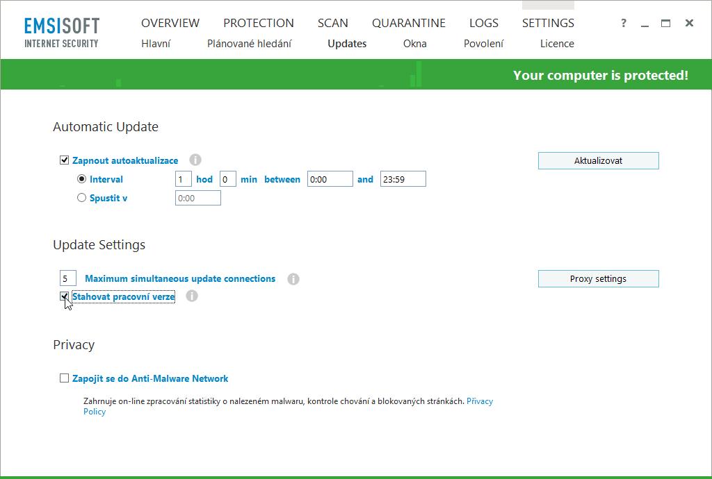 V Updates Emsisoft Internet Security zapneme Stahovat pracovní verze