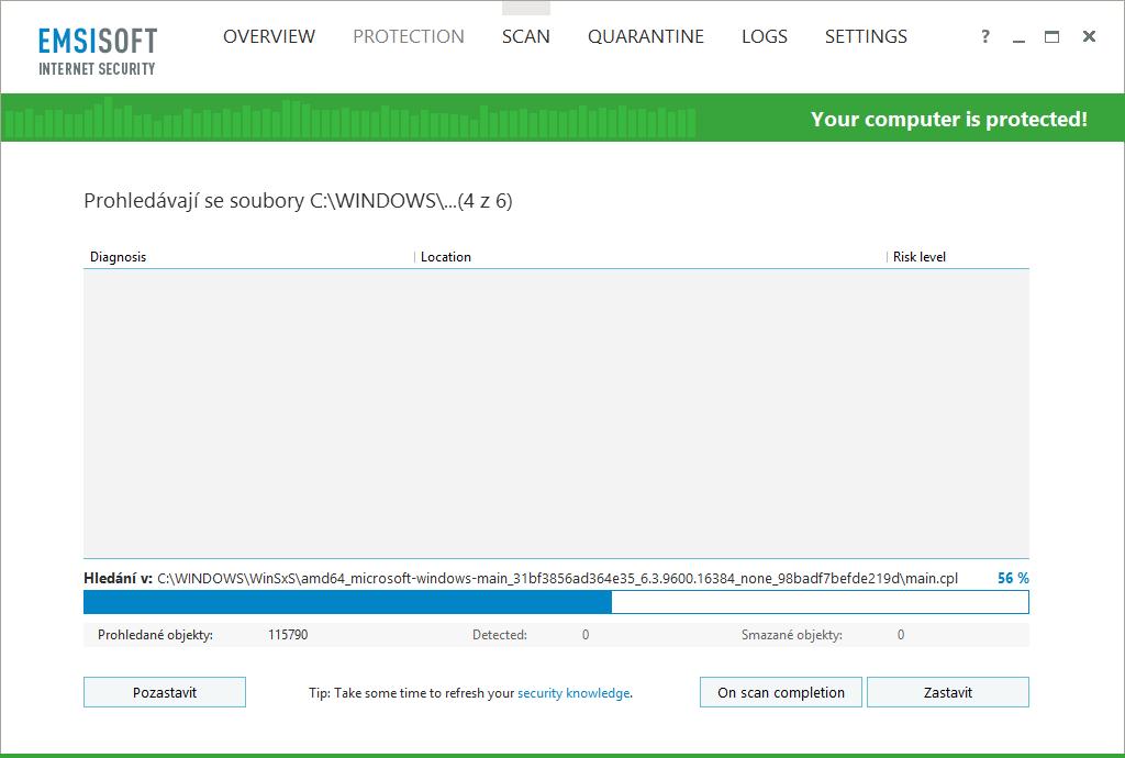 Emsisoft Internet Security: po půlhodině práce - v polovině 4. modulu analýzy...