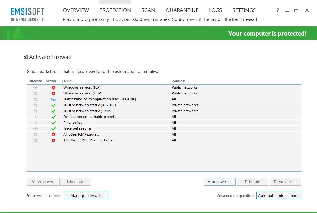 Emsisoft Internet Security: firewall a možnosti jeho nastavení
