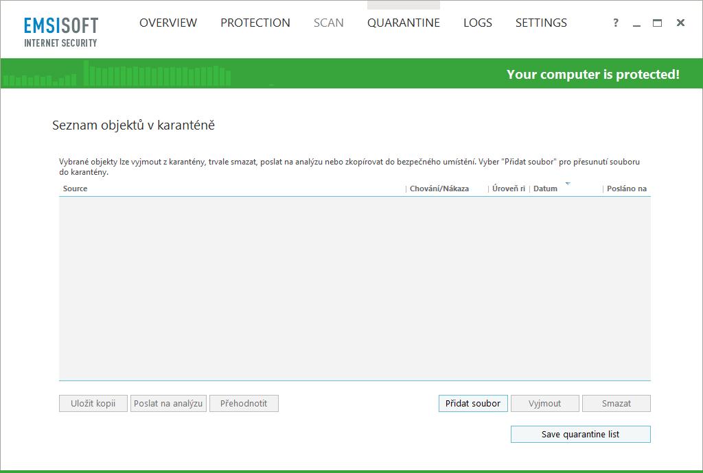 Emsisoft Internet Security: karanténa nabízí jen tu nejjednodušší správu zachyceného softwaru