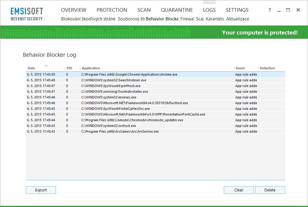 Emsisoft Internet Security: záznamy jsou přehledně roztříděny dle jednotlivých modulů aplikace