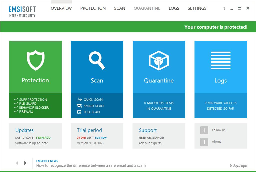 Emsisoft Internet Security: výchozí obrazovka i prostředí programu je totožné s Emsisoft Anti-Malware