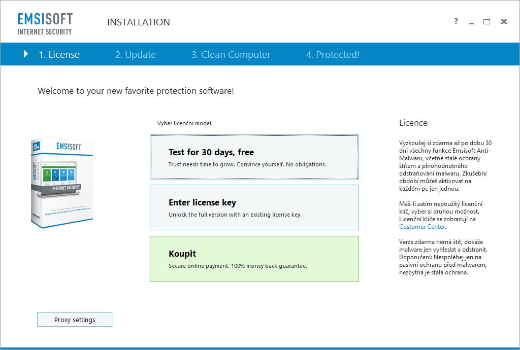Emsisoft Internet Security: po instalaci vybereme test, nebo zakoupení