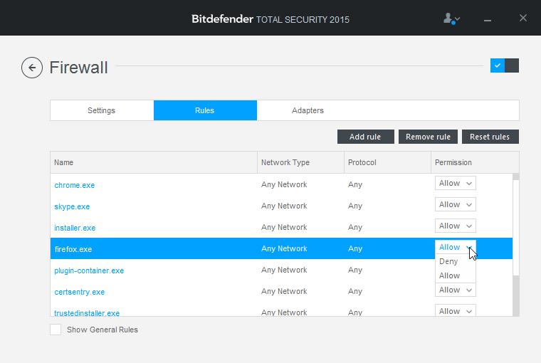 Bitdefender Firewall a jeho správa síťové komunikace aplikací