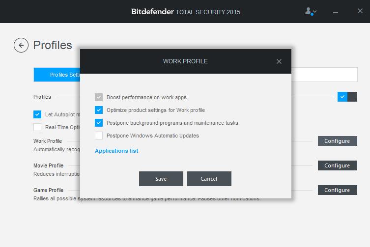 Optimalizace výkonu Bitdefenderu pomocí profilů jeho činnosti