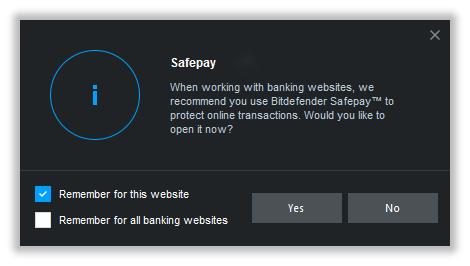 Bitdefender Safepay se inicializuje i samo - při návštěvě webu internetového bankovnictví