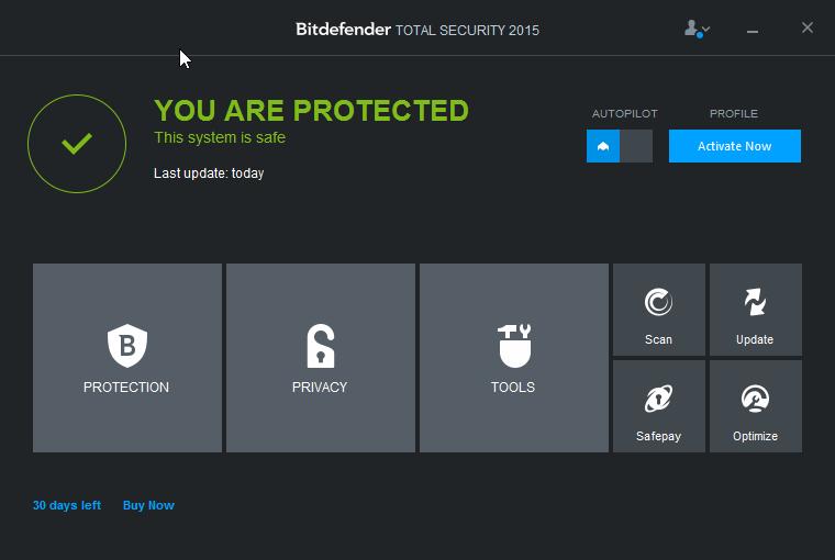 Bitdefender Total Security: přivítá nás prostinké rozhraní