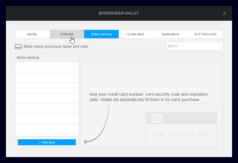 Bitdefender Wallet: správa hesel, přístupů a identit