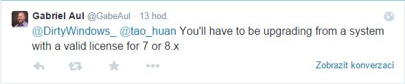 Budete muset upgradovat ze systému Windows 7 či 8.x s platnou licencí, říká Aul