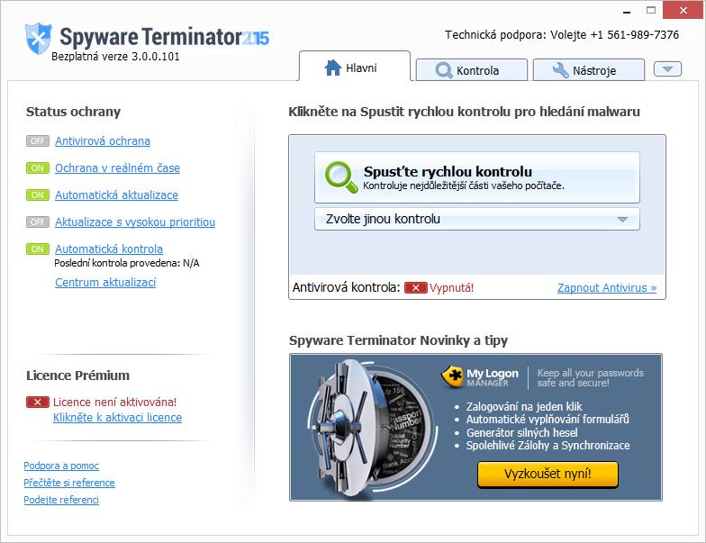 Spyware Terminator: už výchozí obrazovka potěší počeštěným rozhraním