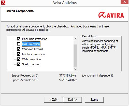 Custom Installation umožňuje vybrat moduly antiviru, které opravdu potřebujeme