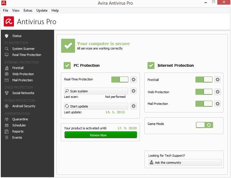 Avira Antivirus Pro: výchozí zobrazení stavu ochrany. Moduly ochrany jsou po pravé straně.