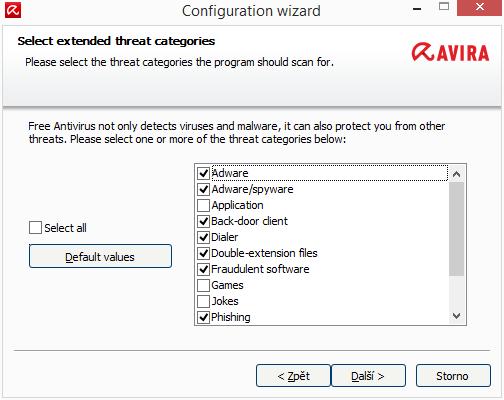 Configuration Wizard nám dá vybrat, před čím vším nás má Avira Antivirus Pro chránit