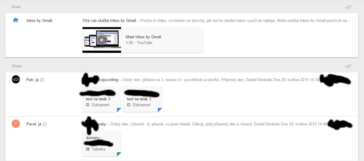 Flat design Google Inbox klidně spotřebuje celý monitor na zobrazení 3 mailů...