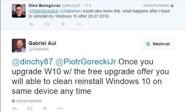 Pokud povýšíte systém na Windows 10 pomocí bezplatného upgradu, budete moci na tomtéž zařízení kdykoliv provést čistou reinstalaci Windows 10, říká Aul