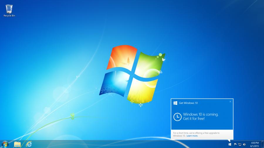 Notifikace aplikace Get Windows 10 - v případě, že aplikace funguje